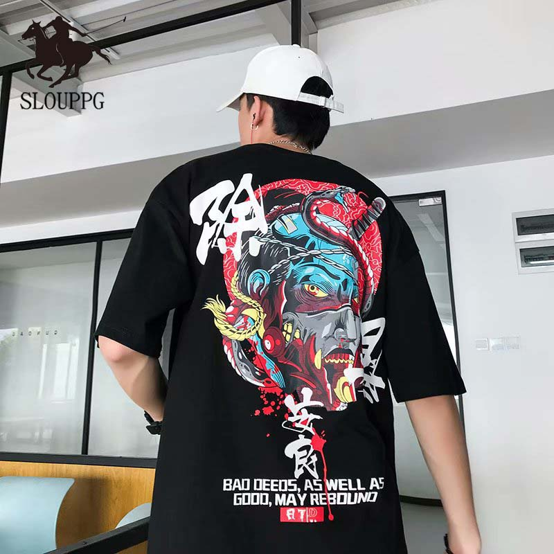 Men's Short-sleeved T-shirt 2019 New Summer Men's Casual Short-sleeved Tide Brand Ins Hip-hop Half Sleeve Chinese Style