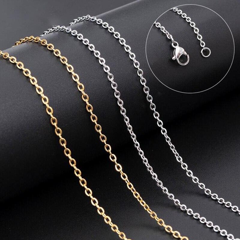 10 шт./лот, цепочки 2 мм для мужчин и женщин, золотая цепочка из нержавеющей стали, кубинские ожерелья для изготовления ювелирных изделий свои...
