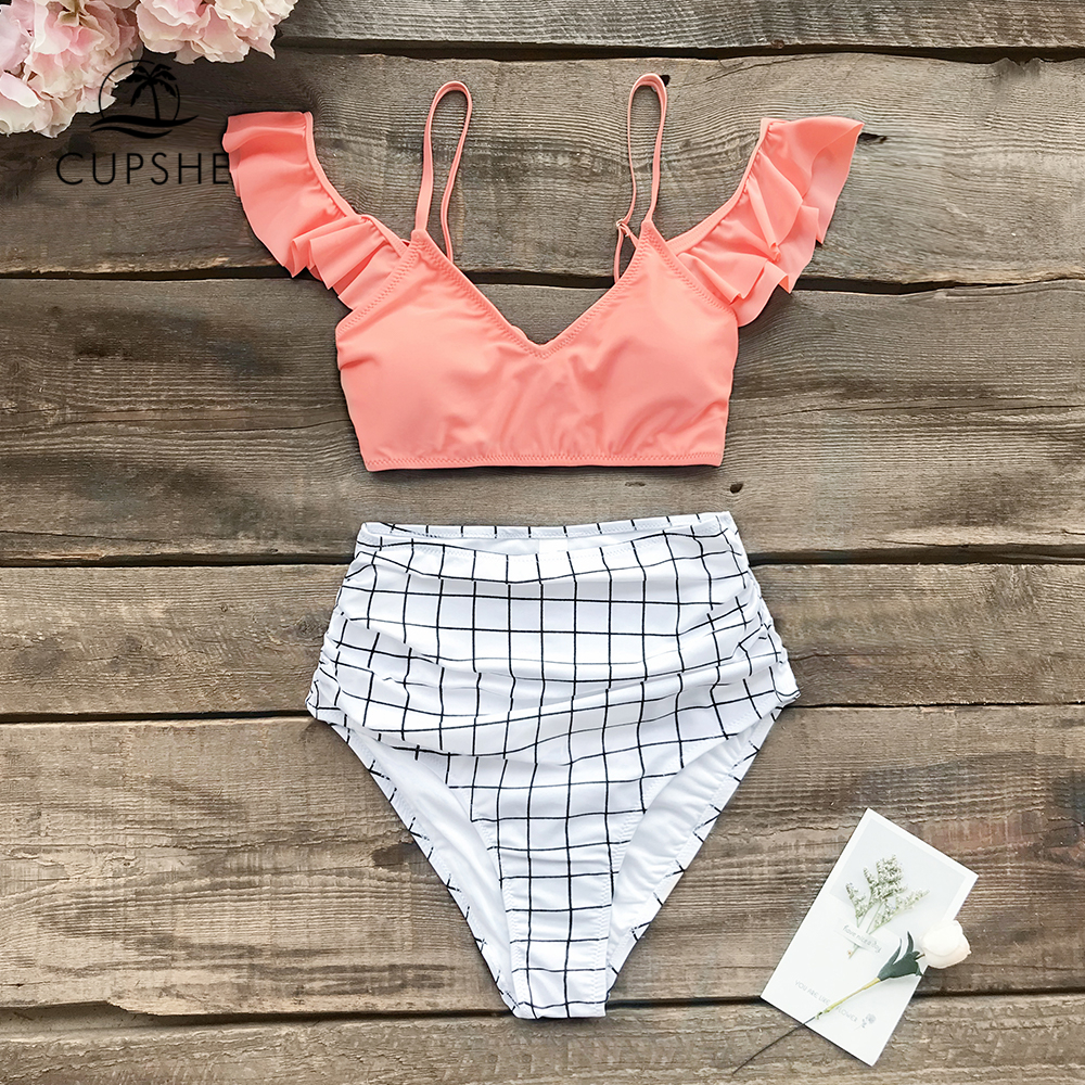 CUPSHE Pink And Plaid Print High-Waist Bikini Sets Women Sexy Ruffle Two Pieces Swimsuits 2020 Girls Beach Bathing Suits