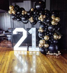 Image 3 - 110pcs Balloon Arch Garland Kit Chrome Gold Latex Black Balloons Wedding Hawaiian Party Birthday Balloons Globos Decoration