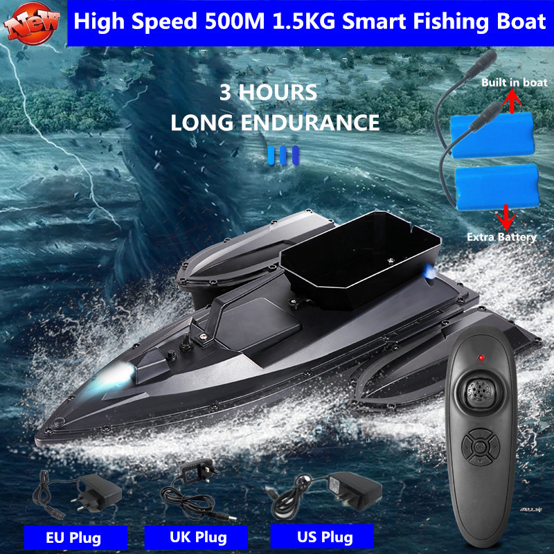 Upgrade Single Hand Remote Control Send Hook Intelligent Remote Control Bait Boat 500M 3Hours Fixed Speed Cruise RC Fishing Boat
