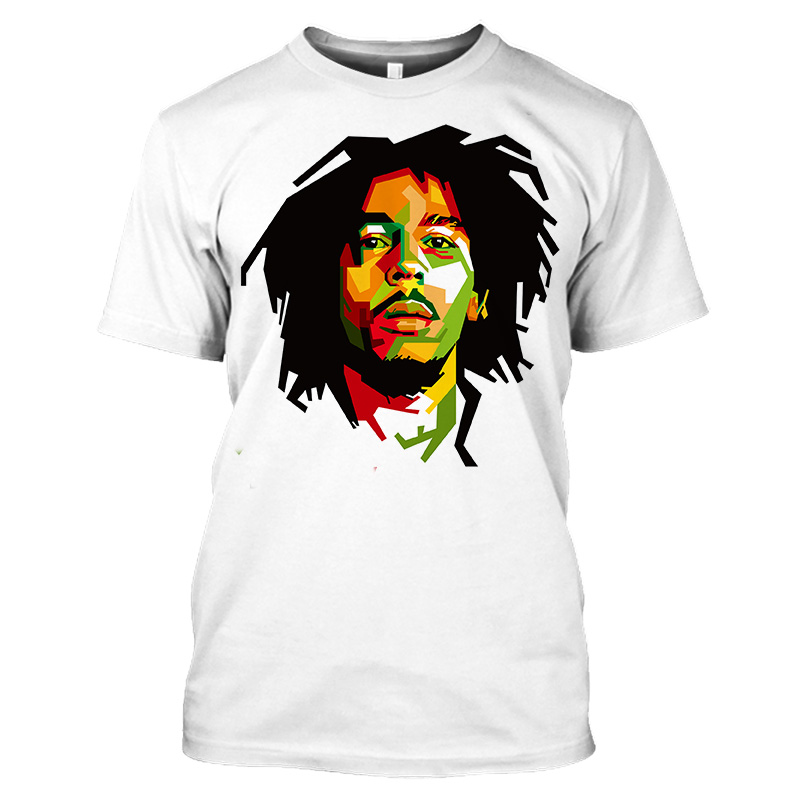 Bob Marley Rock Hip Hop T Shirt Men Male Summer Plus Size Streetwear Casual Short Sleeve Round Neck Weeds Reggae Star T-Shirt (8)