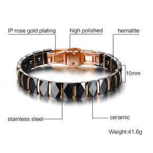 Image 2 - Men Stainless Steel 2 Tone Ceramic Therapy Bracelet for Male Female Unisex Trendy Jewelry Black Rose Gold color 19cm
