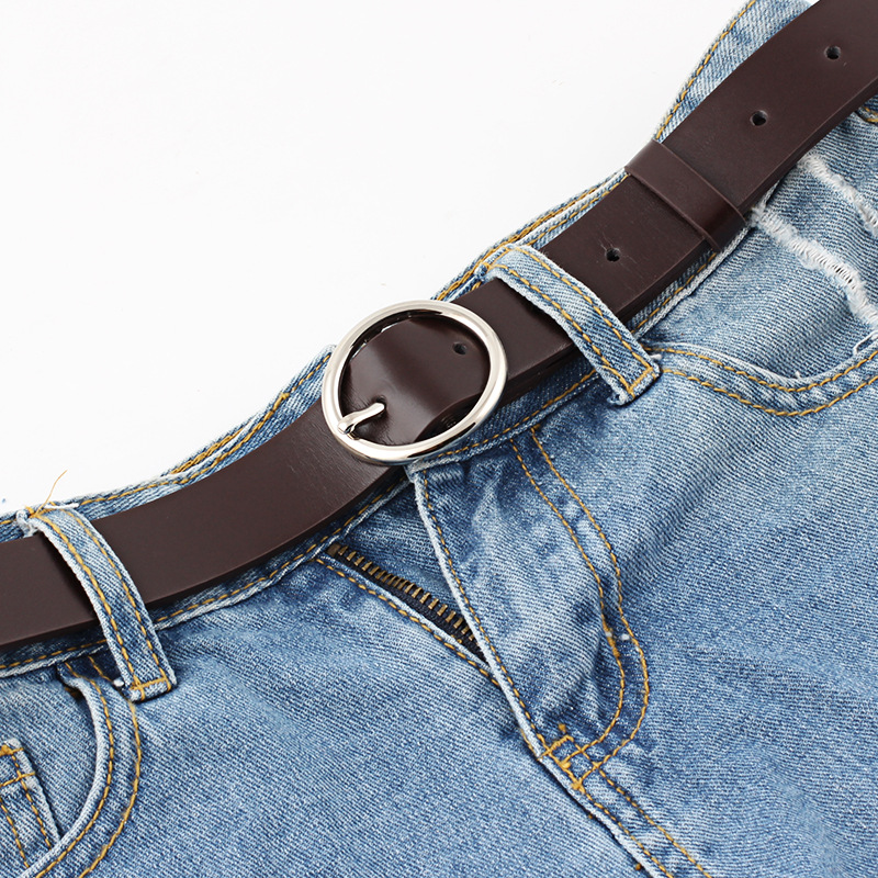 New Fashion Trend White Black Circle Buckle Waist Belt For Lady Jeans Slim Skinny Leather Straps High Quality Belt Cinturon in Women 39 s Belts from Apparel Accessories