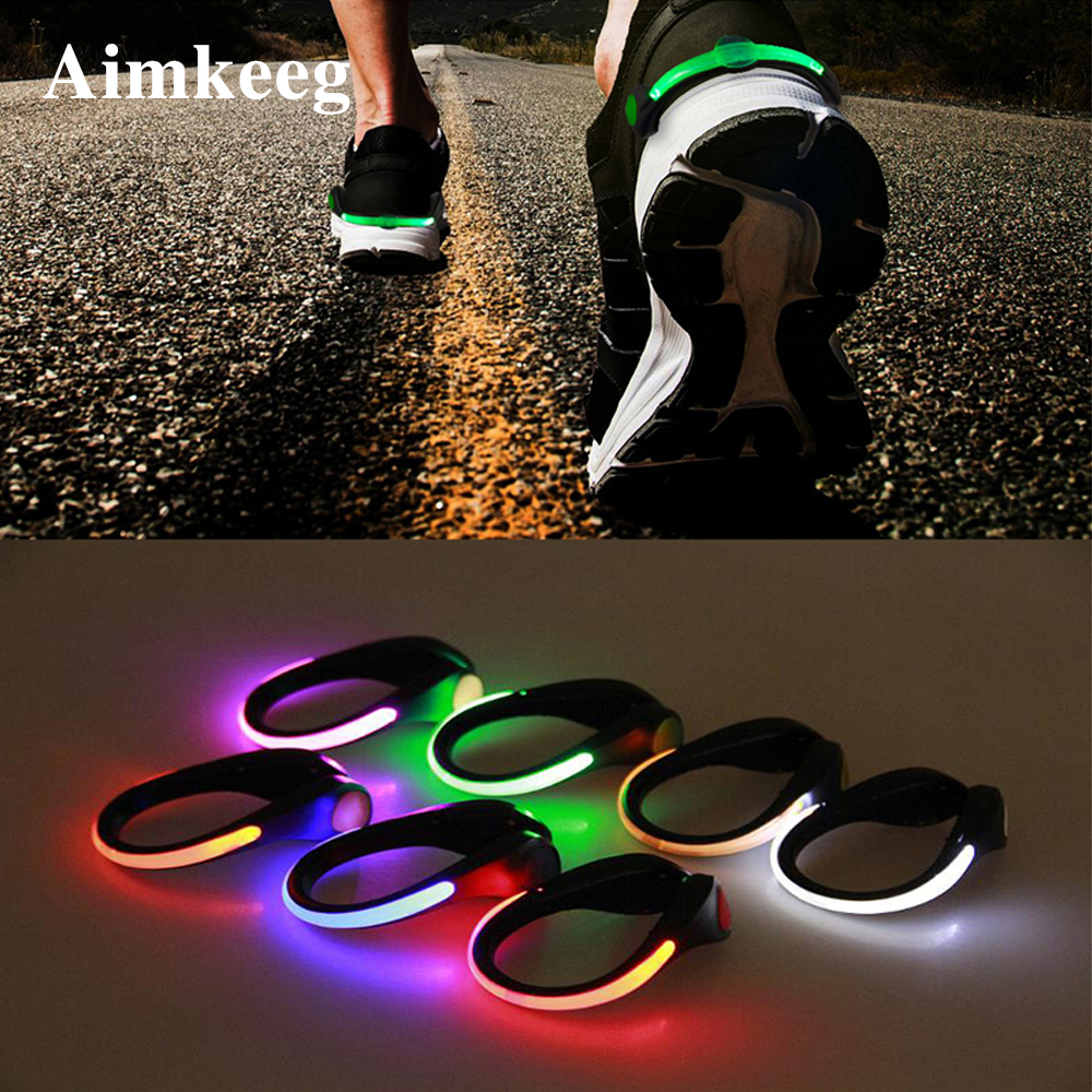 LED Luminous Shoe Clip Light Night Safety Warning Black Red light