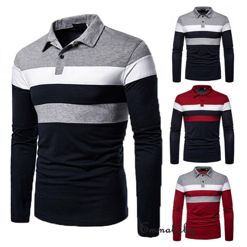 Men's Casual Long Sleeve Shirts Fashion Stripe Tee Shirts Slim Fit Turn-down Basic Tee Men Clothing