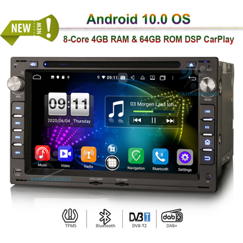 7 Android 10.0 Autoradio CarPlay DSP GPS 4G DAB+ DVD Bluetooth OBD DVR Radio for VW Golf Passat Polo T5 Lupo Seat Peugeot 307 image