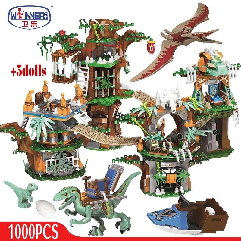 1000 pçs jurássico mundo dinossauro árvore casa blocos de construção jurássico mundo parque figuras tijolos conjuntos brinquedos para crianças presentes