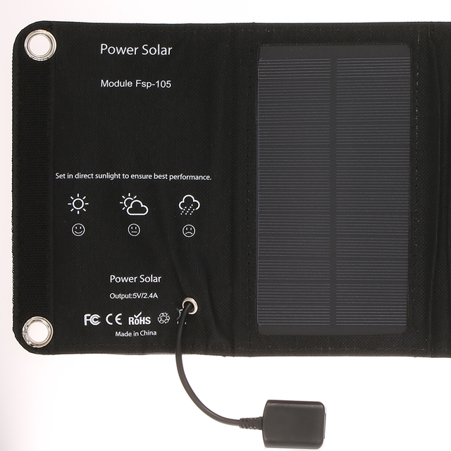 10W/5V Portable Solar Charger With USB Port Foldable 5 Solar Panel Camping Hiking Travel Compact Solar Power Phone Charger 4