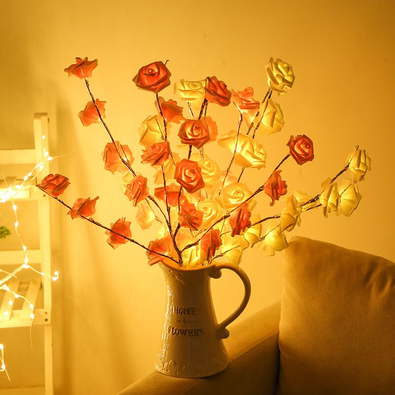 73cm 20 Bulb LED Rose Flower Willow Branch Lamp Battery Powered Decorative Lights Tall Vase Filler For Christmas Home Decoration