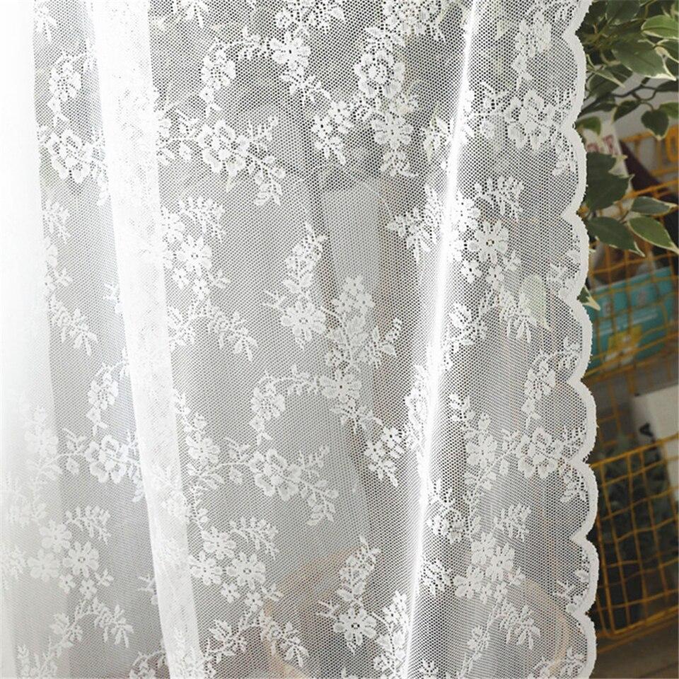 Encaje blanco europeo cortinas para sala de estar tul Ventana de dormitorio cortinas serape decoración del hogar
