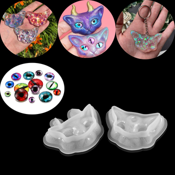 2 Styles Cat Head Silicone Mold Eyes Crystal Epoxy Jewelry Three-eyed Gift Crafts For DIY Pendant Making Clear