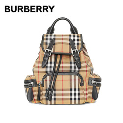 BURBERRY Plaid Canvas Leather Backpacks Interior Zip Pockets Buckle Drawstring Closure Shoulder Bags Rucksack For Women 40784711