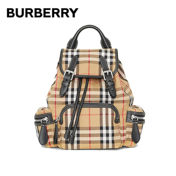 BURBERRY Plaid Canvas Leather Backpacks Interior Zip Pockets Buckle Drawstring Closure Shoulder Bags Rucksack For Women 40784711 zip closure canvas tote bag
