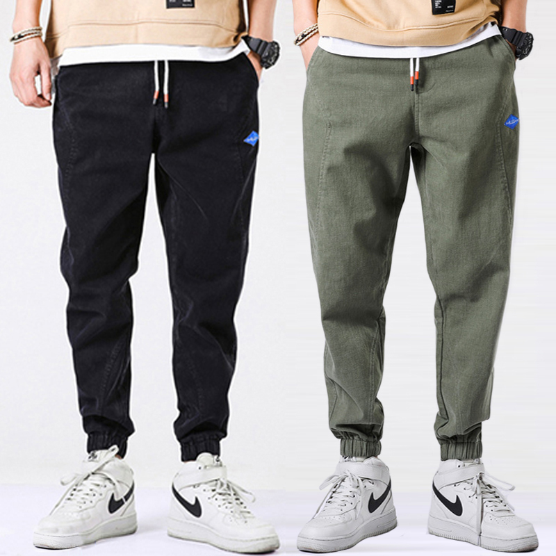 Korean Style Fashion Men Jeans Loose Fit Casual Leisure Cargo Pants Harem Trousers Streetwear Spliced Hip Hop Jeans Men Joggers