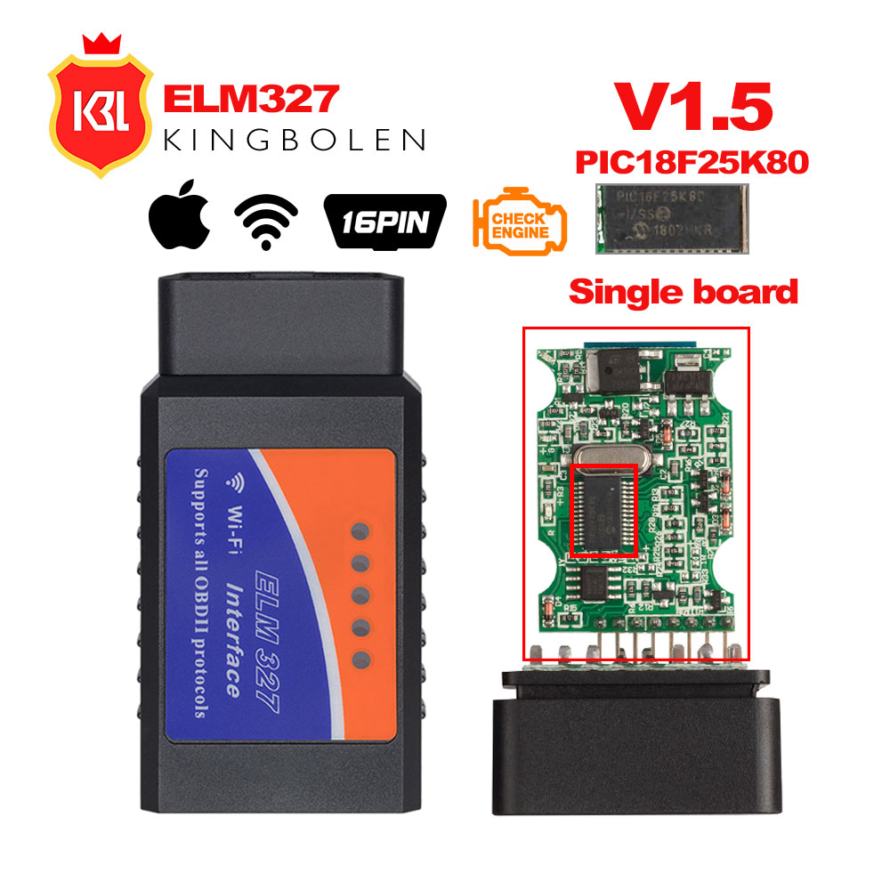ELM327 V1.5 Bluetooth/Wifi OBD2 V1.5 Mini Elm 327 Bluetooth PIC18F25K80 Chip Auto Diagnostic Tool OBDII for Android/IOS/Windows