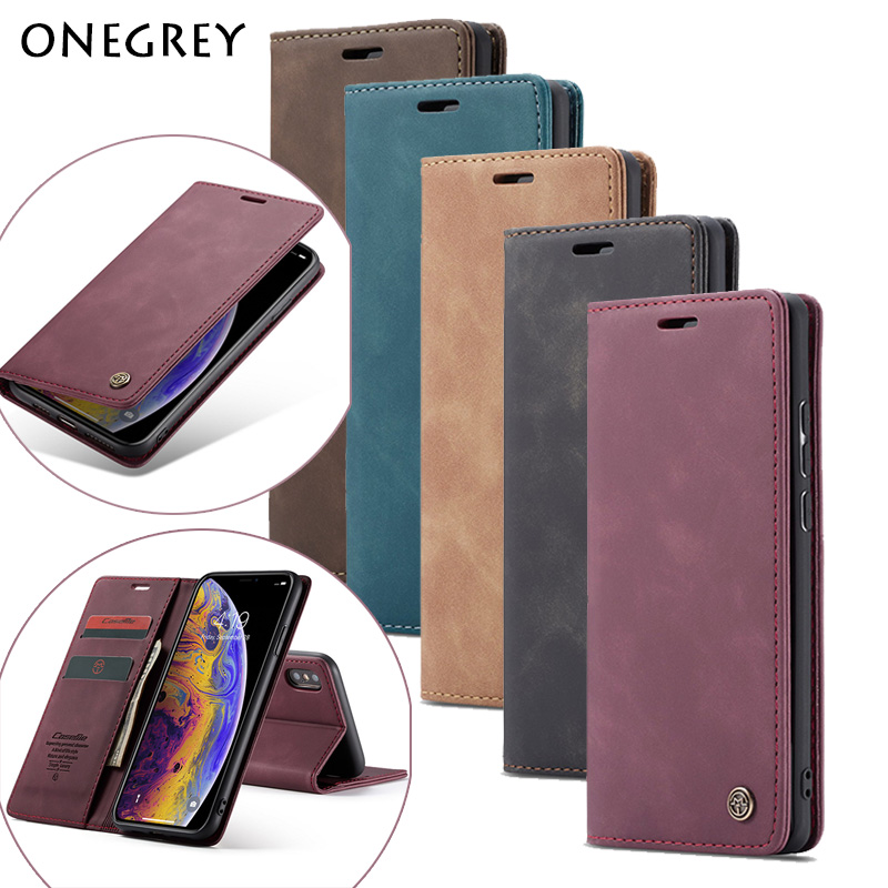 Strong Magnetic <font><b>Case</b></font> For <font><b>iPhone</b></font> 11 Pro <font><b>XS</b></font> Max XR <font><b>X</b></font> 7 8 6 6s Plus 5 5s SE Luxury Leather Flip Wallet Card Stand Phone Cover Coque image