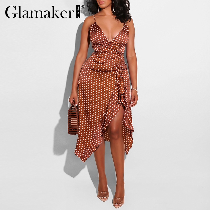 Glamaker Midi Dress Party Club Pleated-Bodycon Split Polka-Dot Ruffle Elegant V-Neck title=