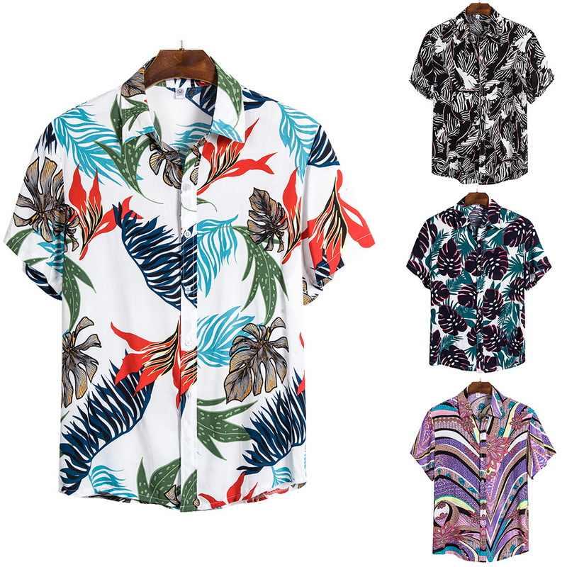 Litthing Mới Arribal Áo Sơ Mi Đôi Nam Hawaii Thường Ngày Hoang Sơ Mi Cổ Điển Một Nút Chui In Hình Ngắn áo Sơ Mi Tay