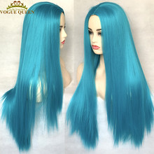 Vogue Queen Blue Straight Wig Synthetic Heat Resistant Fiber Full Machine Made Wig Natural Middle Part For Women