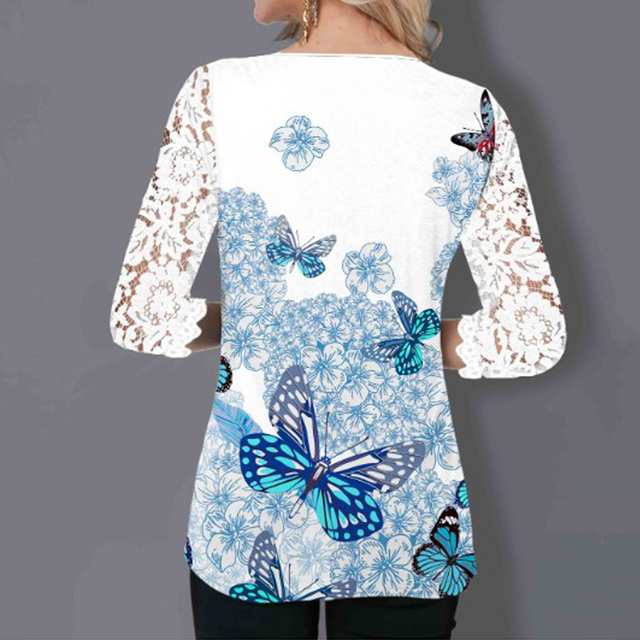 Women Blouse Plus Size Boho Shirt 2020 Autumn Butterfly Print Lace Splice Shirts Ladies V-neck Casual Shirt Pullovers Femme Tops 4