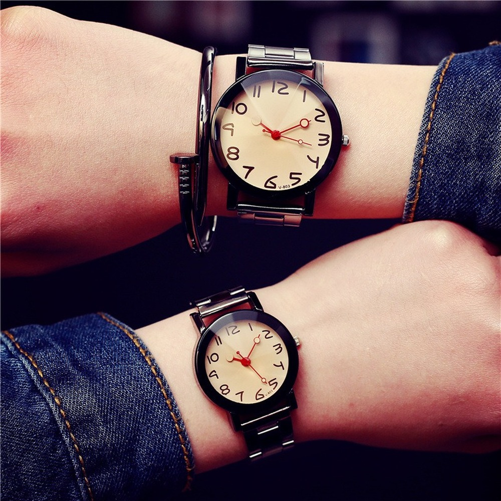 Couple Watches Lovers Men And Women Casual Stainless Steel Quartz Watch Women's Dress Couple Watch Clock Gift  No Bangle