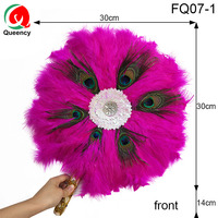 FQ07 5PCS/Bag New African Traditional Type Soft Feather Sequince Hand Fan and Gold Handle Dancing Fans for Party and Wedding