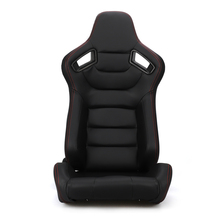 1pcs Tan Black red  Racing Seats Sport Brown Leather Car Reclinable Seats W/ 2 Slides