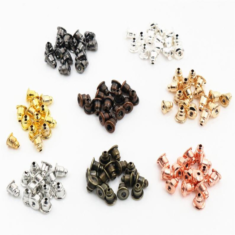 50pcs High Quality Bullet Earring Backs Classic 8 Colors Plated Metal Earring Back Plug Earring Settings Base Ear Studs Back