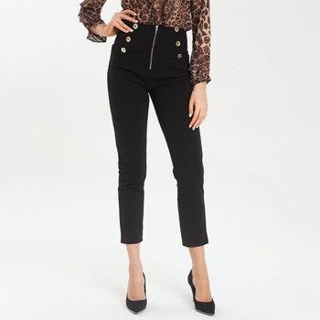 Negro Oficina elegante pantalones mujeres sólido alto cintura pantalones de moda ropa de las mujeres pantalones pantalon Mujer