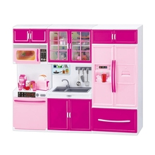 Simulation Kitchen Cabinets Set Children Pretend Play Cooking Tools Mini Tableware Sets Toys Girls Dollhouse Playset