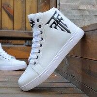 Homens sapatos de skate respirável sapatos brancos sapatos de lazer sapatos planos alta superior tênis casuais masculinos sapatos de rua chaussure homme