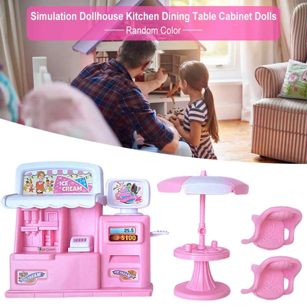 Simulation Dollhouse Ice Cream Candy Trolley House Play Educational Toy Kitchen Dining Table Cabinet Girl Pretend Game Toy