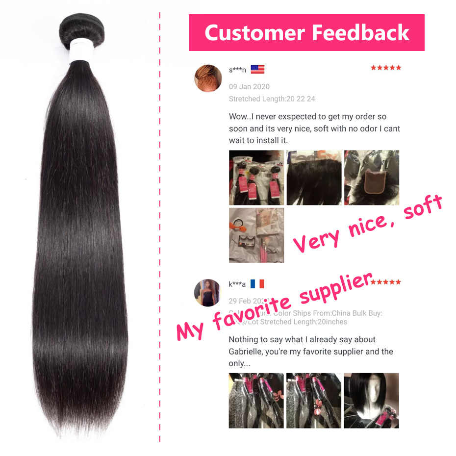 Gabrielle Braziliaanse Steil Haar Bundels 8-40 Inch Natuurlijke Kleur Remy Human Hair Weave Bundels Gratis Verzending 30 Inch bundels