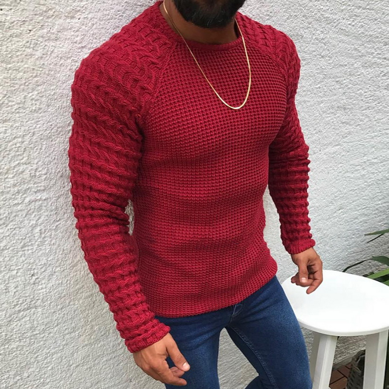 2020 New Men Casual Neck Pullover Sweaters Autumn Winter Casual Slim Fit Long Sleeve Cable Knitwear Sweater Pullover