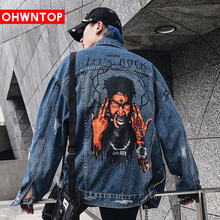 Men Hole Denim Jacket Hip Hop Loose Bomber jacket Streetwear  Funny Spoof Rap Print Jean Jacket Punk Rock Coats Casual Clothes
