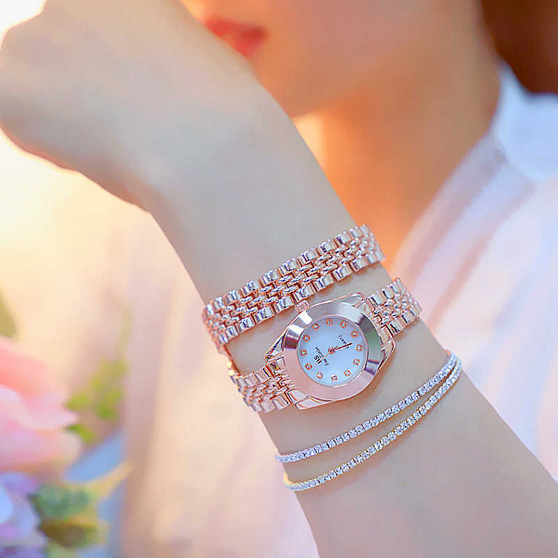BS חדש גבירותיי יד שעונים שמלת שעון זהב נשים קריסטל יהלומים שעונים נירוסטה כסף שעון נשים Montre Femme 2019