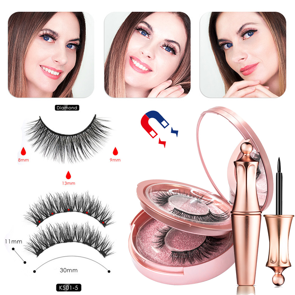 Double Layer Magnetic False Eyelashes Waterproof Magnetic Eyeliner Easy To Operate NO Glue Lashes Extension 2 Pairs With Tweezer