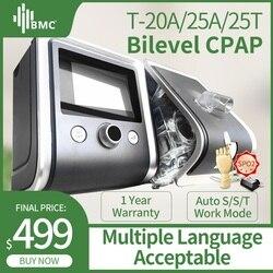 BMC GII BPAP T-20A/25A/25 T Bilevel CPAP Therapie Apneu COPD Met Vingertop Pulsoxymeter SpO2 kit volgelaatsmasker Slang Luchtbevochtiger