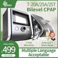 BMC GII BPAP T-20A/25A/25 T Bilevel CPAP terapia Apnea COPD con oxímetro de pulso del dedo kit SpO2 máscara facial completa manguera humidificador