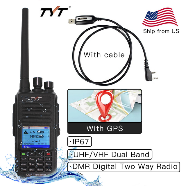 IP67 Waterproof MD UV390 DMR Walkie Talkie Dual Band UHF VHF 136 174 400 480MHz Dual Time Dlot Transceiver Digital Two Way Radio