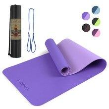 Lixada 183*61*0.8cm portátil dupla dupla-colorida esteira de yoga anti-deslizamento fitness treino exercício esteira com bolsa de armazenamento de alça de transporte