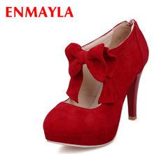 Enmayla весенние туфли из флока на высоком каблуке женские платформе
