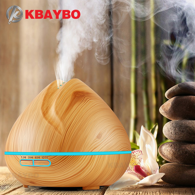 KBAYBO 400ml Air Humidifier Aroma Essential Oil Diffuser Ultrasonic Air Humidifier Wood Grain LED Light Cool Mist Maker For Home