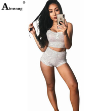 Aimsnug Stripes Women Sets Two-piece suit Sleeveless Tank Crop Top Skinny Shorts Casual Sportwear Female Two Piece Outfits