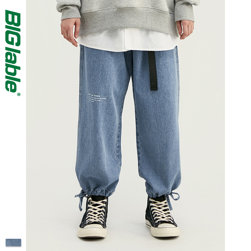 BIG LABLE 2019 AW  Mens Relaxed Mens Ankle-tied Jeans In Blue Men Loose Fit Straight Ankle-tied Jeans Streetwear 93388W