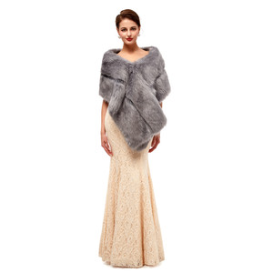 Image 2 - Gray Wedding Fur Shawl Wedding Dress Wrap Adults Formal Jackets Luxury Bridal Cape Accesories Bride Women Fur Bolero 2020