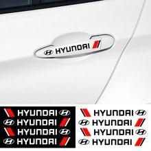 4 шт. наклейки на дверные ручки автомобиля, декоративные наклейки, автомобильный Стайлинг для Hyundai Sonata Elantra Tucson Creta I30 Ix35 I40 IX20