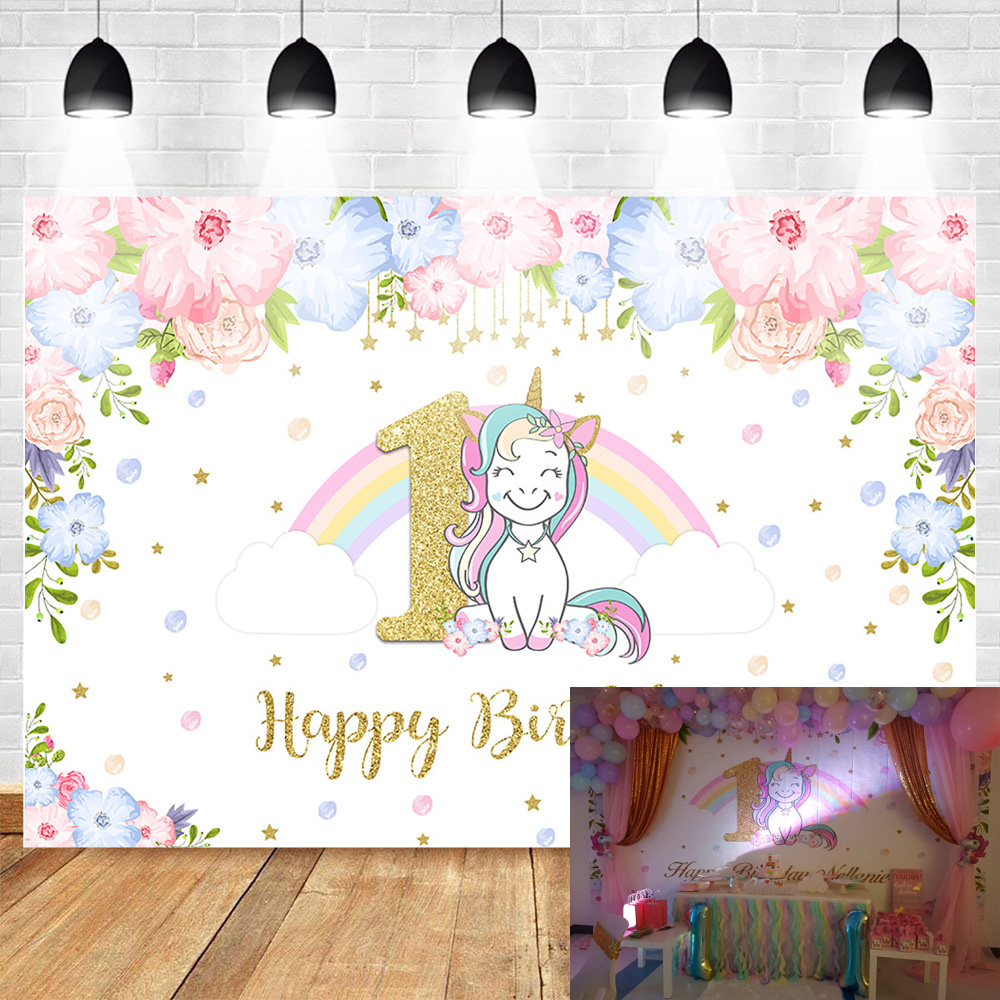 Unicorn Themed 1st Birthday Party Photo Background Rainbow Glitter Stars Flower Photography Backdrops Cake Table Banner