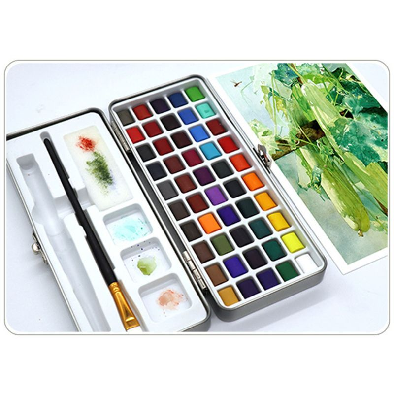 50 cores sólido aquarela pintura pigmento conjunto